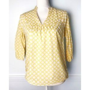 Banana Republic • Yellow White Patterned Blouse